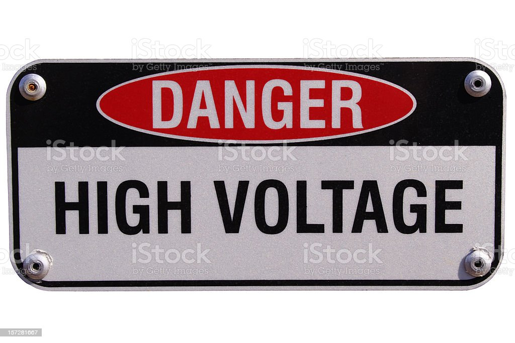 Danger High Voltage with path stock photo