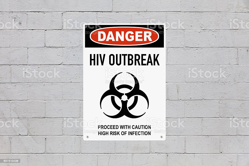 Danger - HIV outbreak stock photo