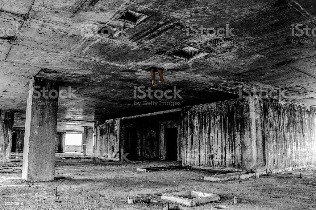 Danger horrible of abandoned buildings stock photo