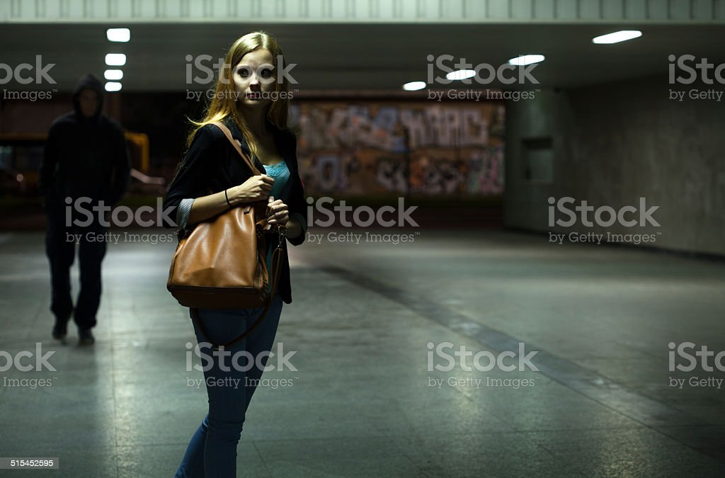 Danger in the underpass stock photo