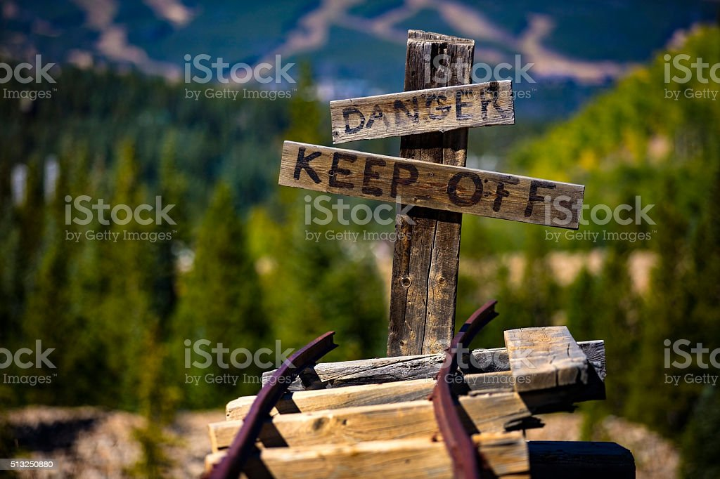 Danger Keep Off Railway stock photo