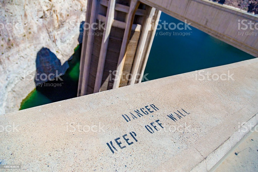 Danger Keep off the Wall warning, Hoover Dam, Nevada, USA stock photo