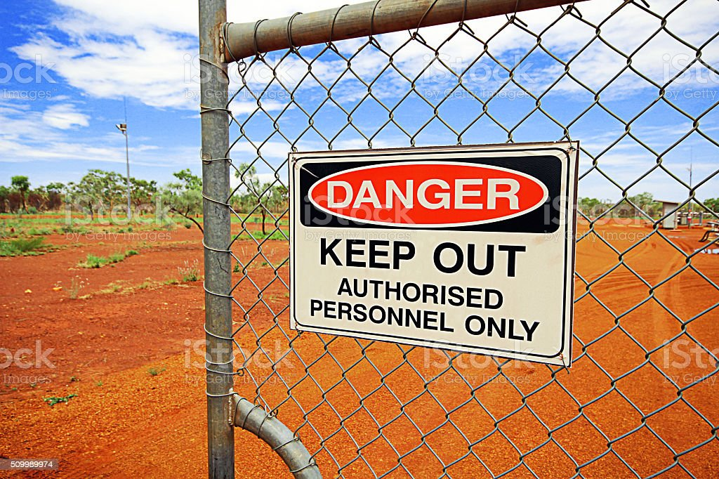 Danger Keep Out on Gate stock photo
