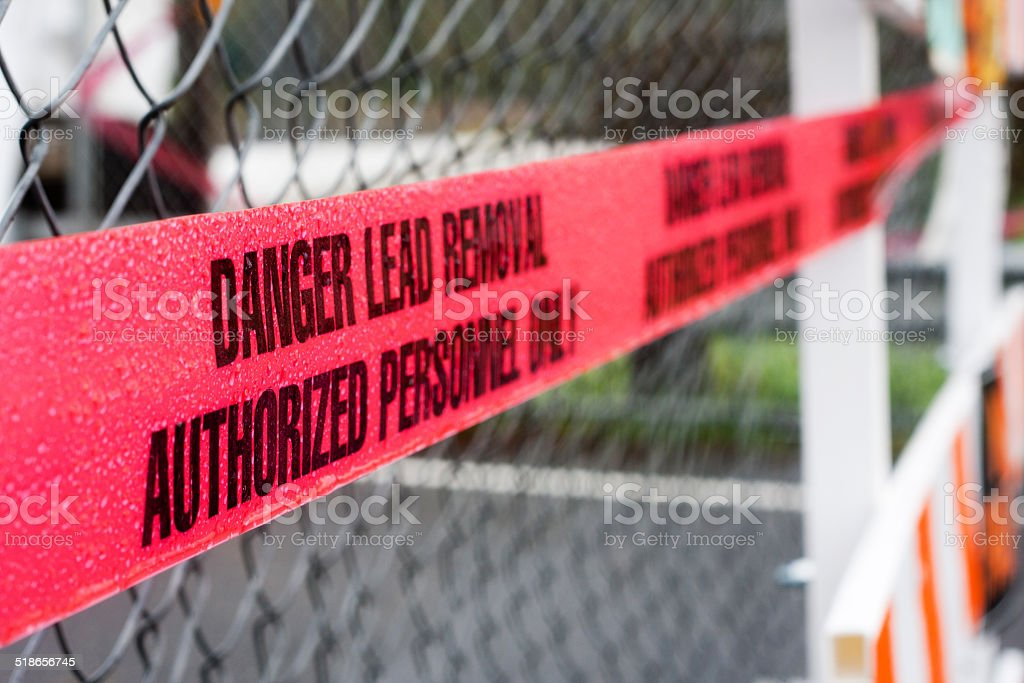 Danger Lead Removal Cordon Tape stock photo