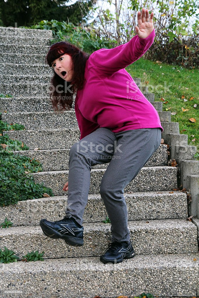 Danger of crash and risk of accidents on stairs stock photo