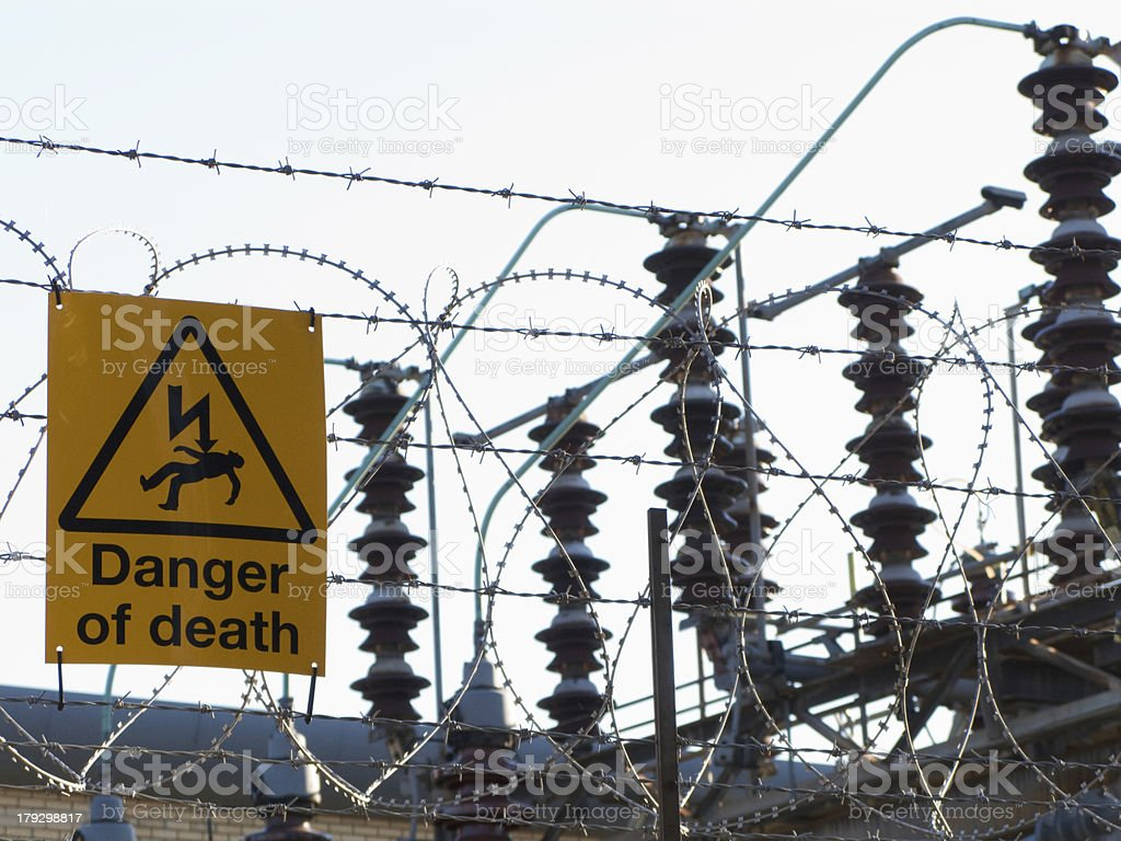 Danger of death by electric shock stock photo