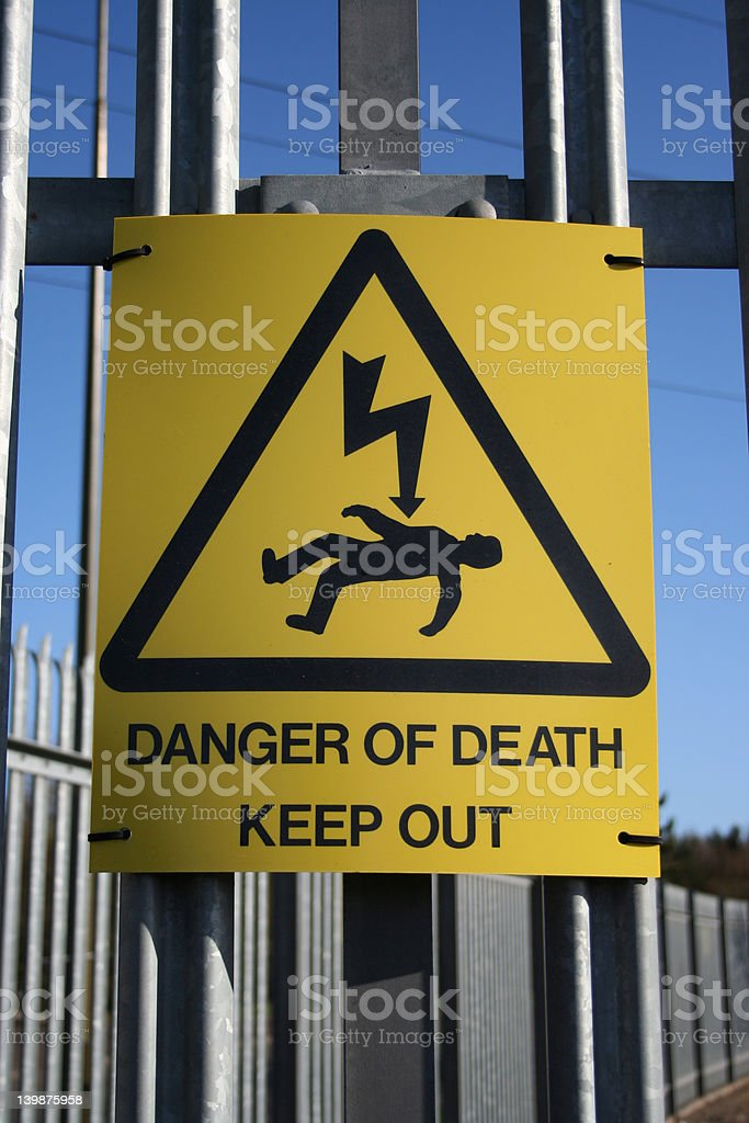 Danger of electric shock sign royalty-free stock photo