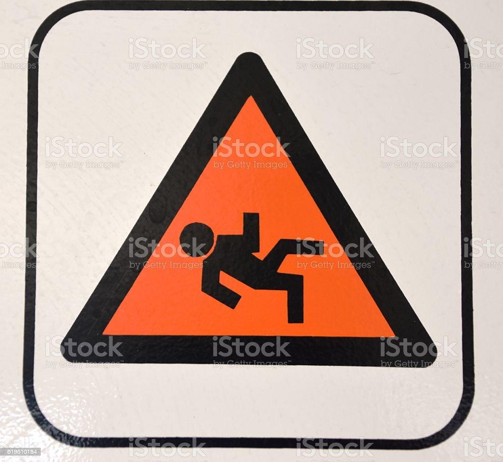 danger of slipping Sign stock photo