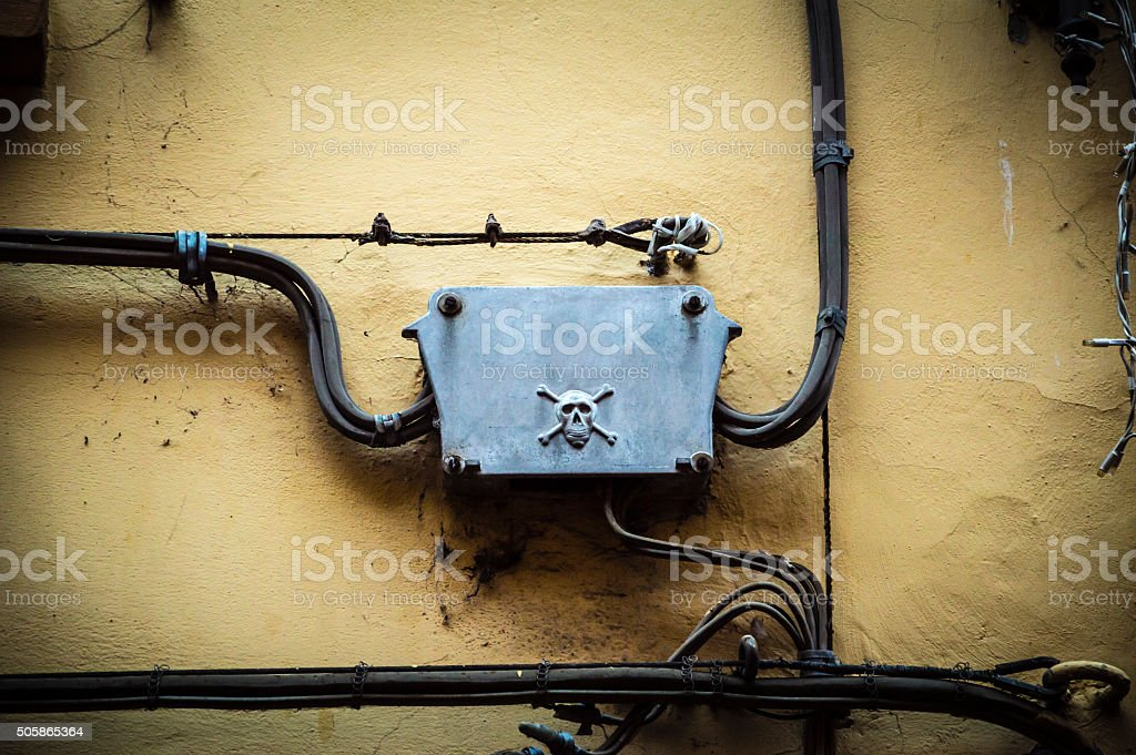 Danger old electrical plant stock photo