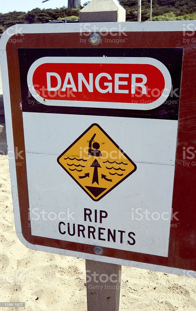 Danger: Rip Currents stock photo