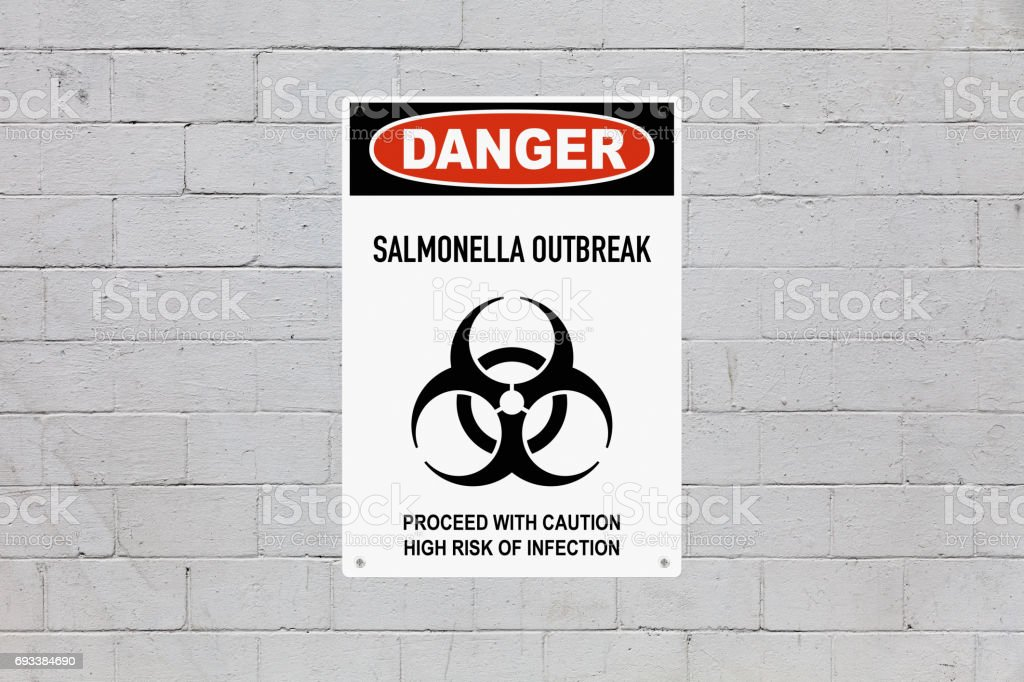 Danger - Salmonella outbreak stock photo