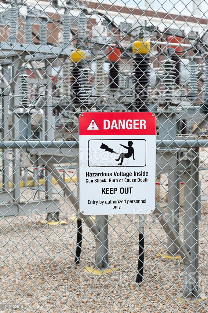 danger sign at an electricity factory stock photo
