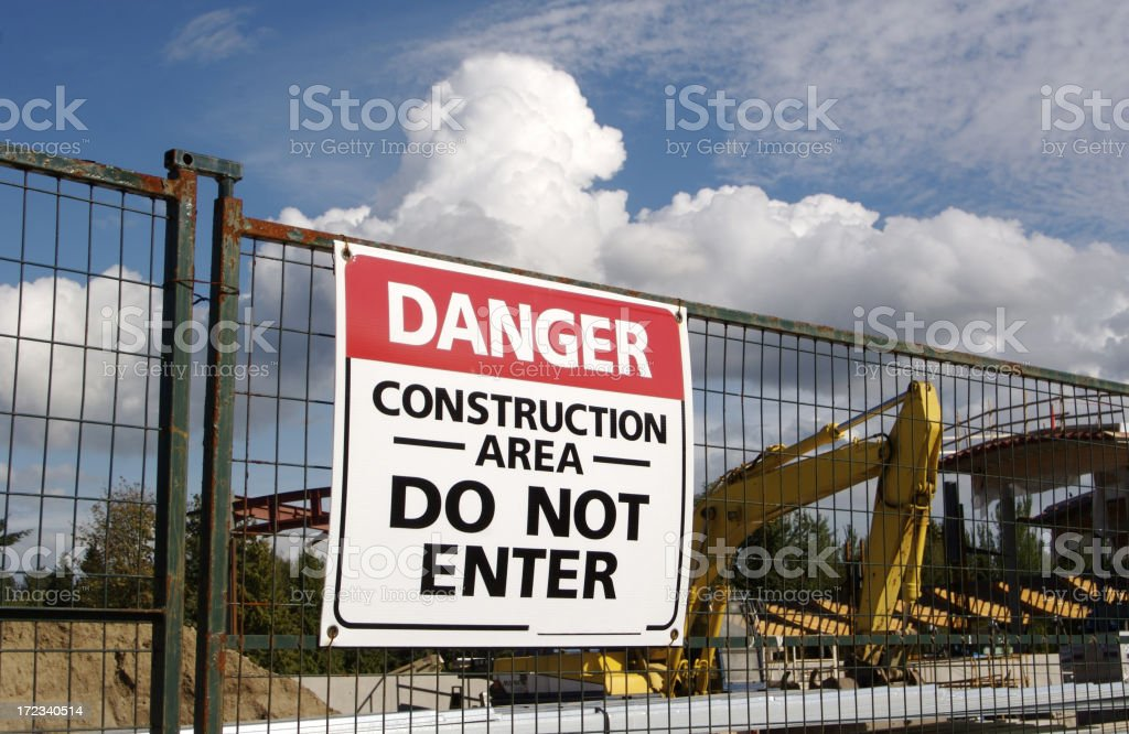Danger Sign At Construction Site stock photo