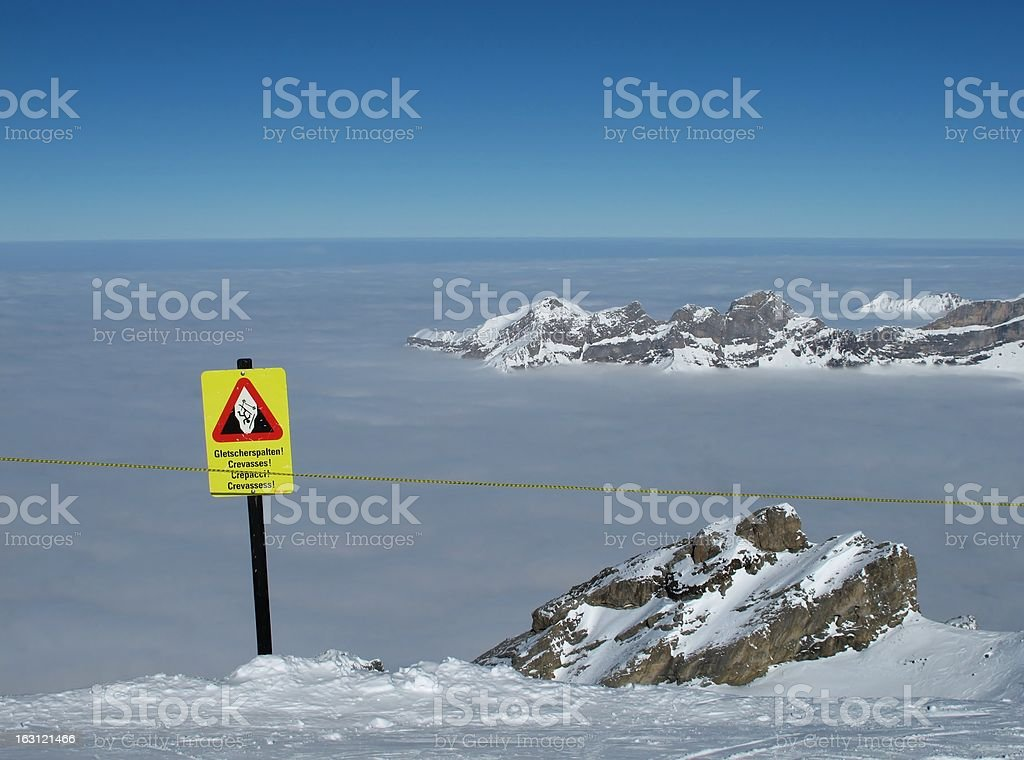 Danger sign 'crevasses' on the Titlis royalty-free stock photo