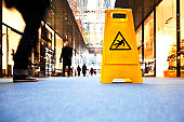 danger sign in a shopping mall