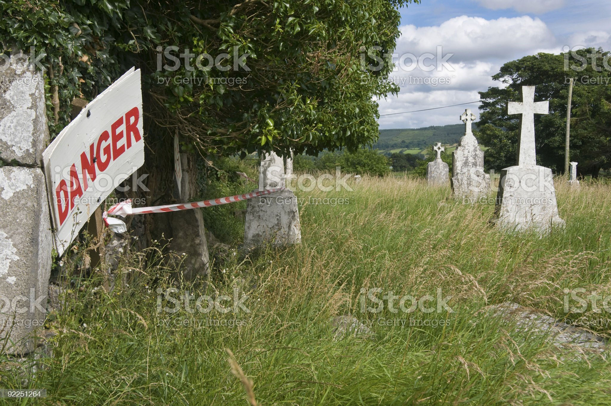Danger sign on a cemetery in Ireland royalty-free stock photo