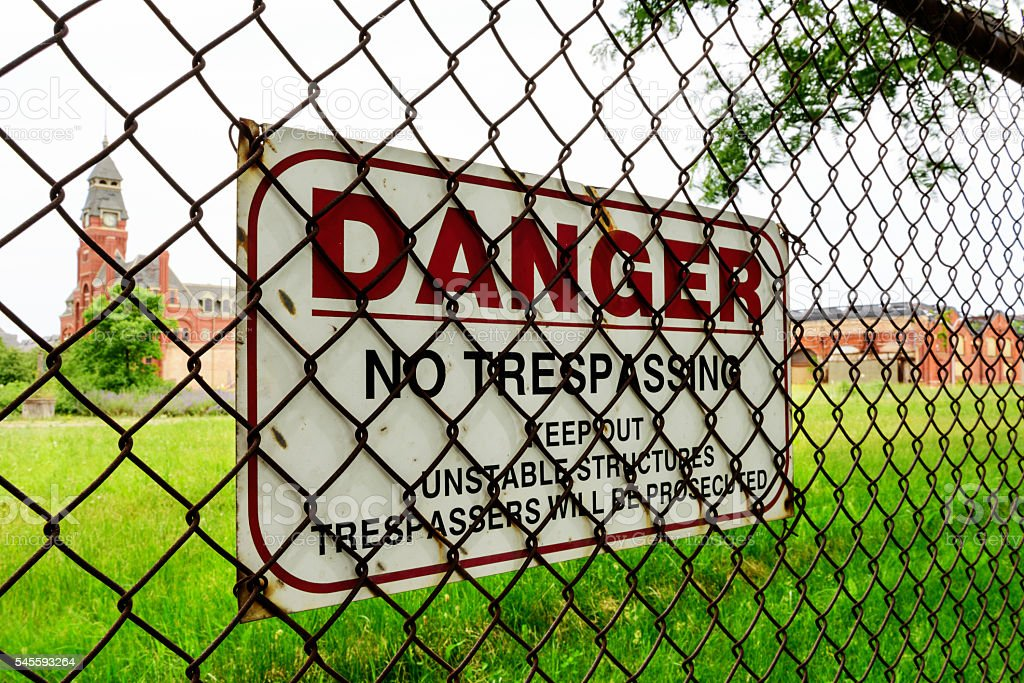 Danger sign, Pullman National Monument stock photo