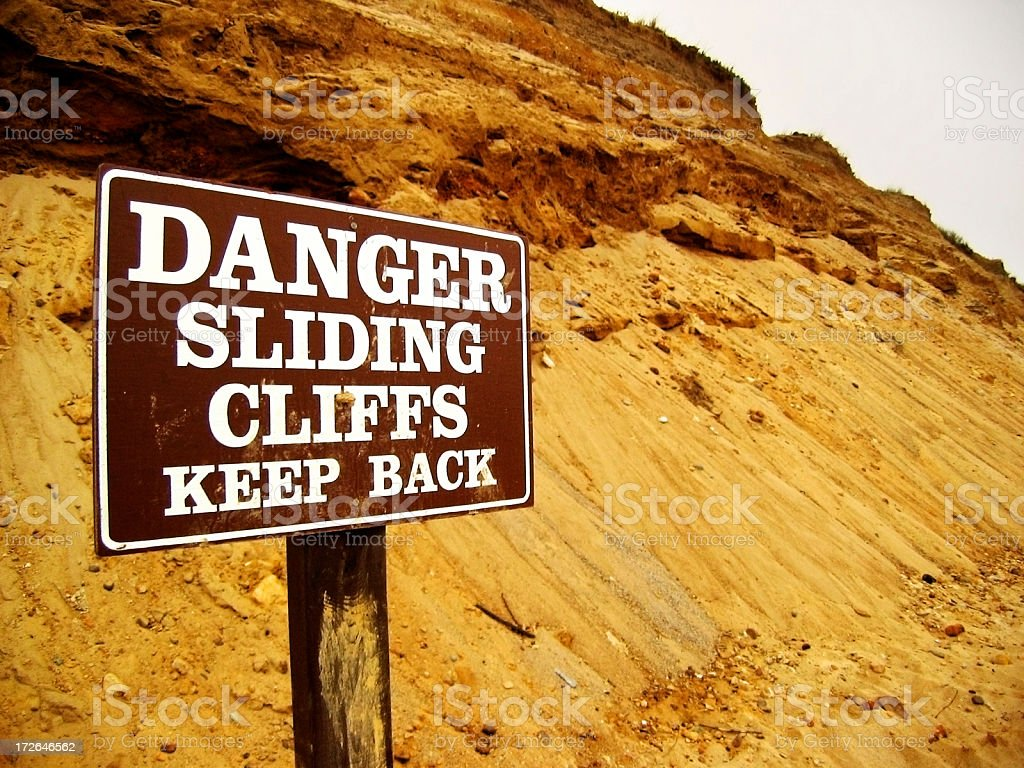 Danger! Sliding Cliffs - keep back royalty-free stock photo