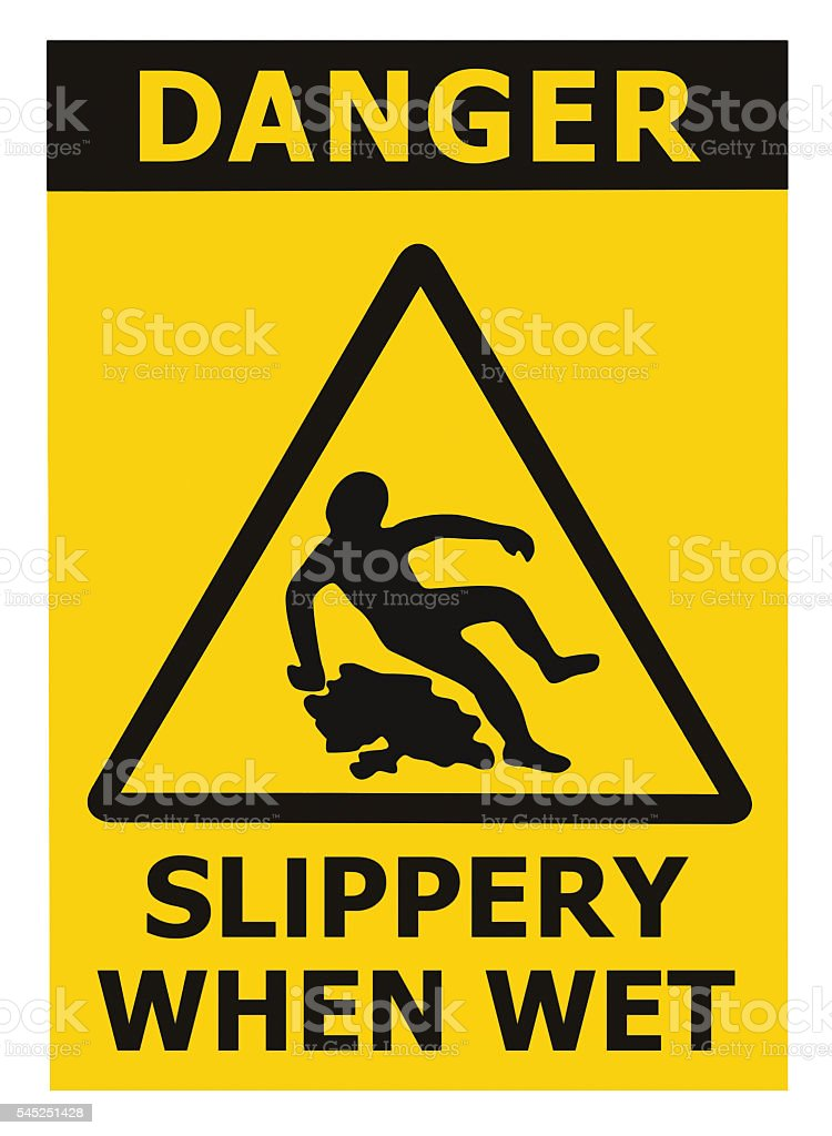 Danger Slippery When Wet Text Sign, Black Yellow Isolated Vertical stock photo
