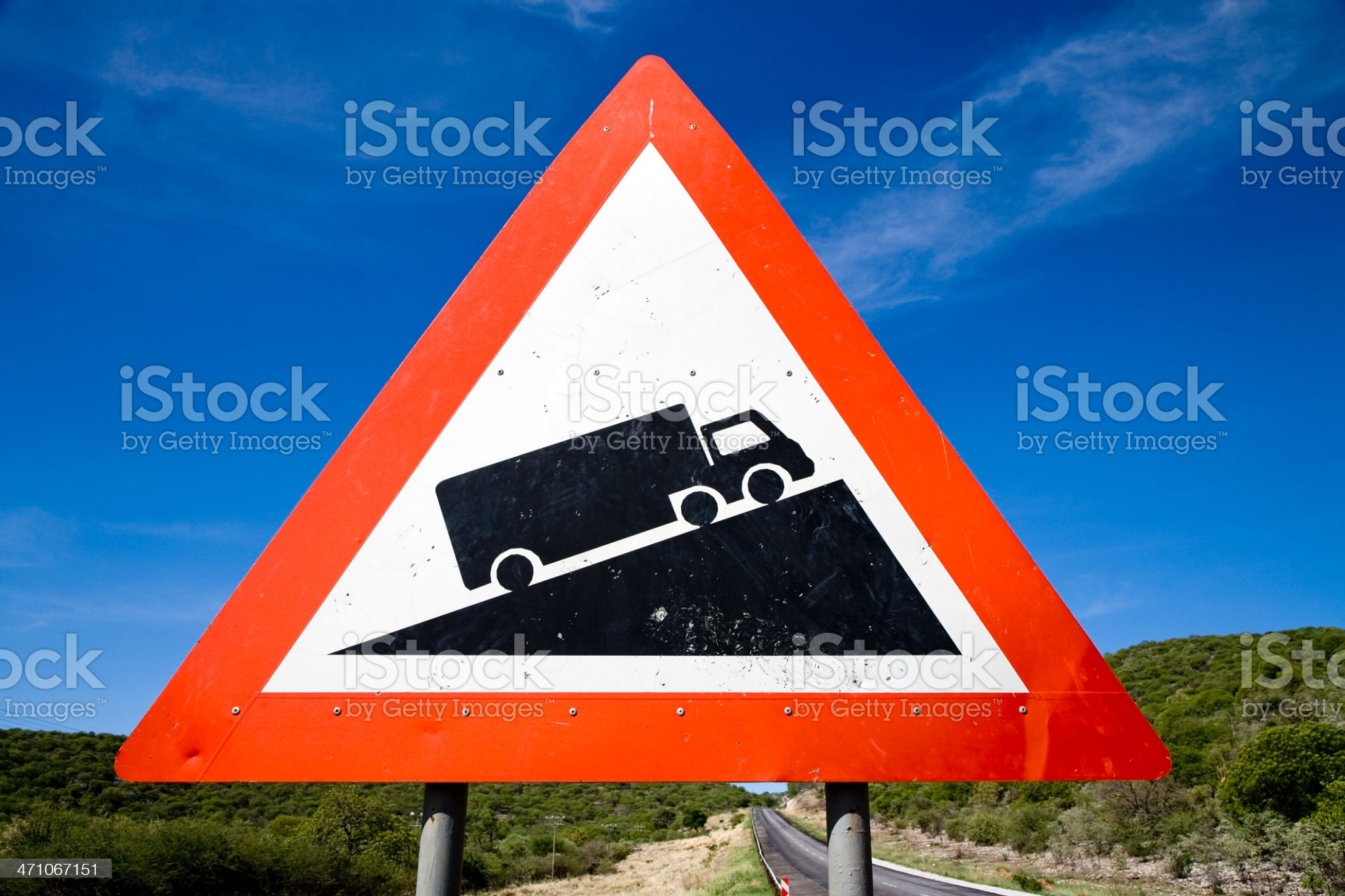 Danger Steep Hill Road Sign Series IX royalty-free stock photo