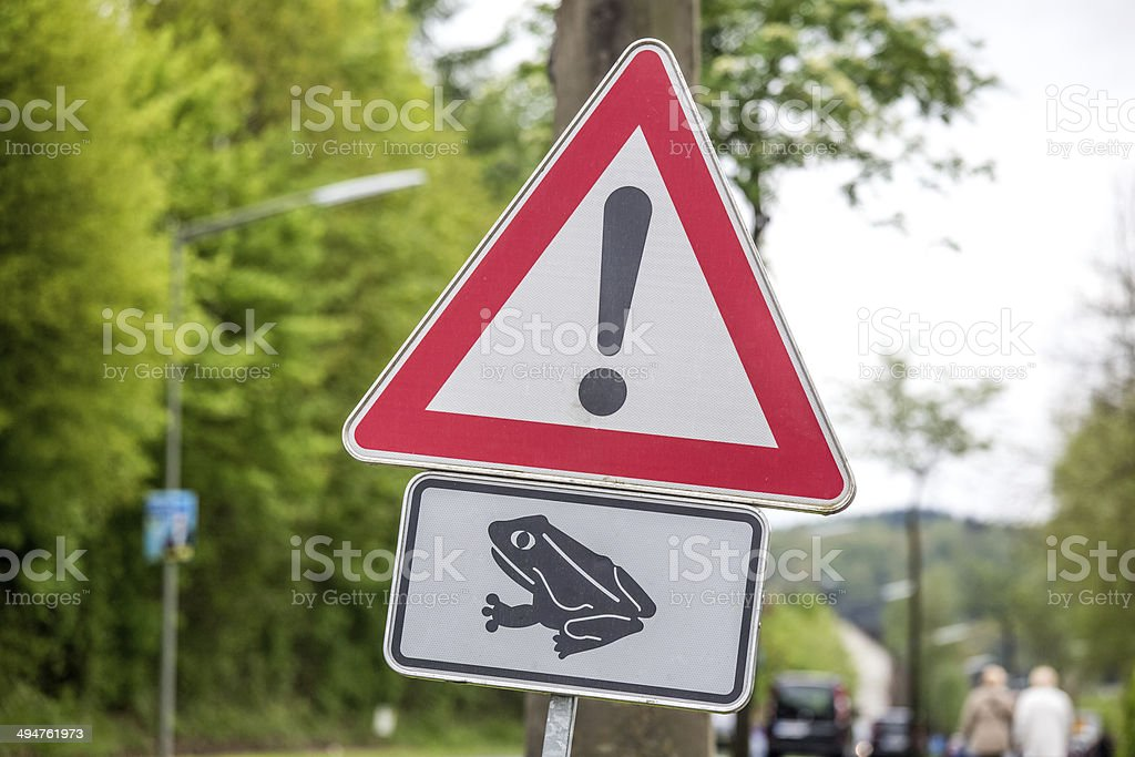 danger toad migration sign royalty-free stock photo
