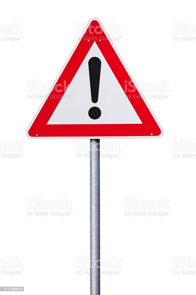 Danger warning Traffic sign isolated stock photo