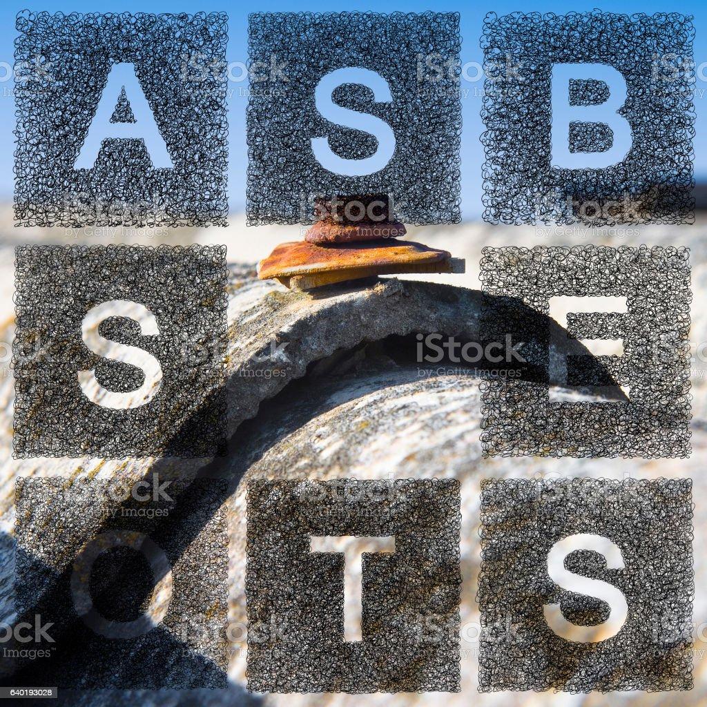 Dangerous asbestos roof concept stock photo