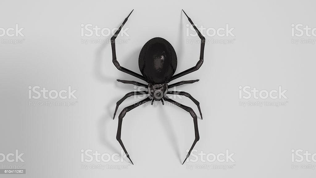Dangerous Black widow spider 3d render on white background stock photo