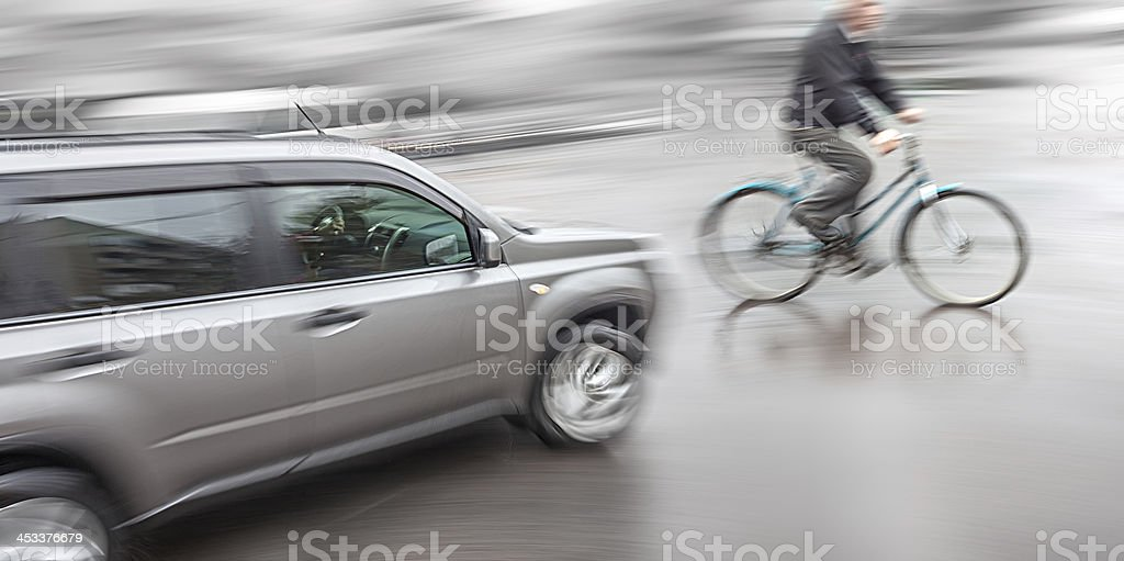 Dangerous city traffic situation stock photo