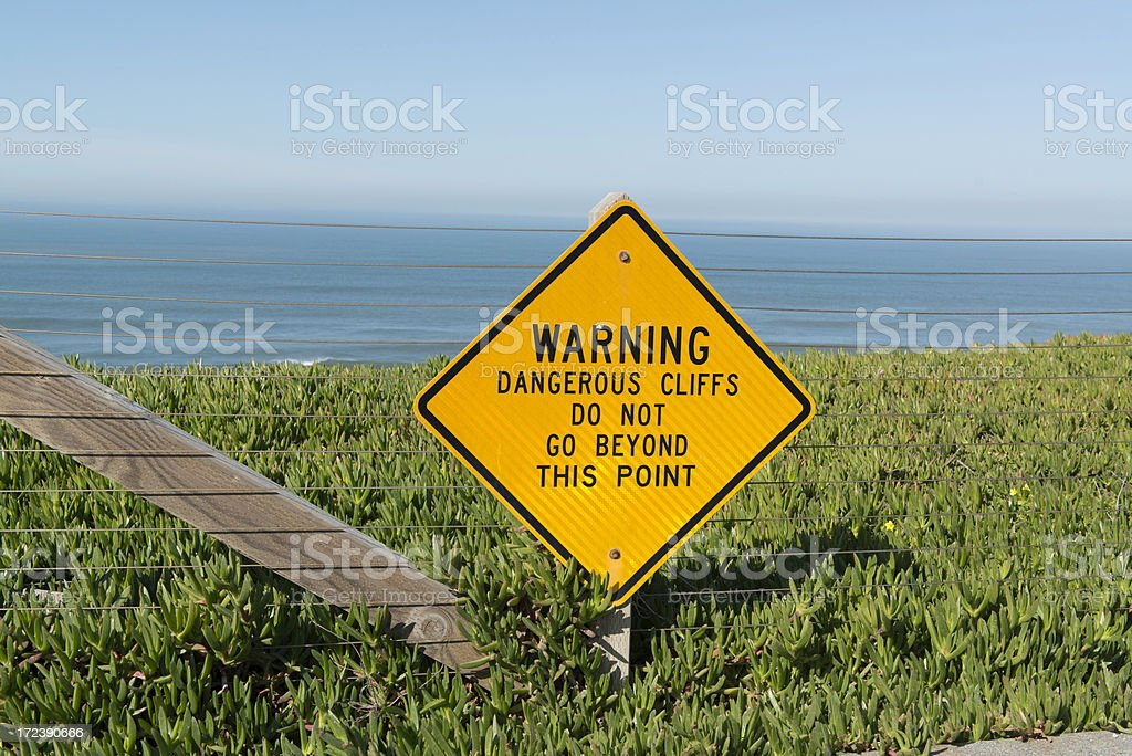 Dangerous Cliff Warning stock photo