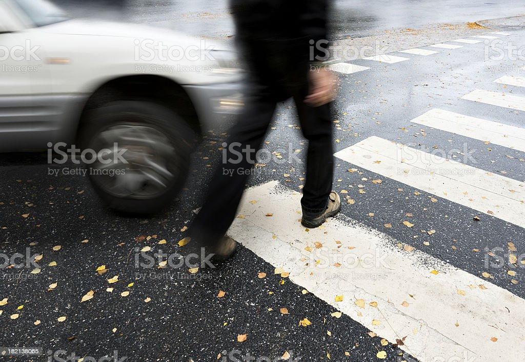 dangerous crossing stock photo