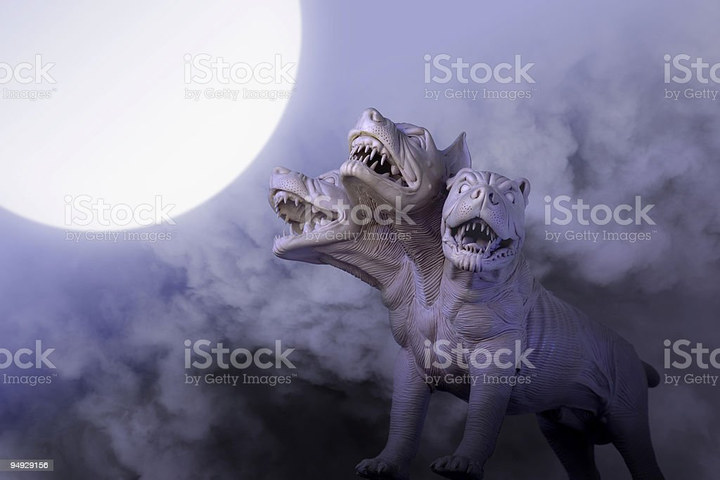Dangerous dog with three heads at night stock photo
