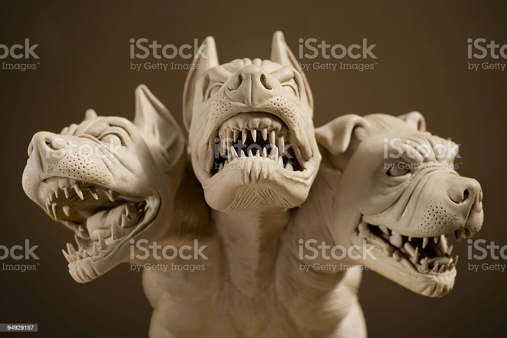 Dangerous dog with three heads stock photo