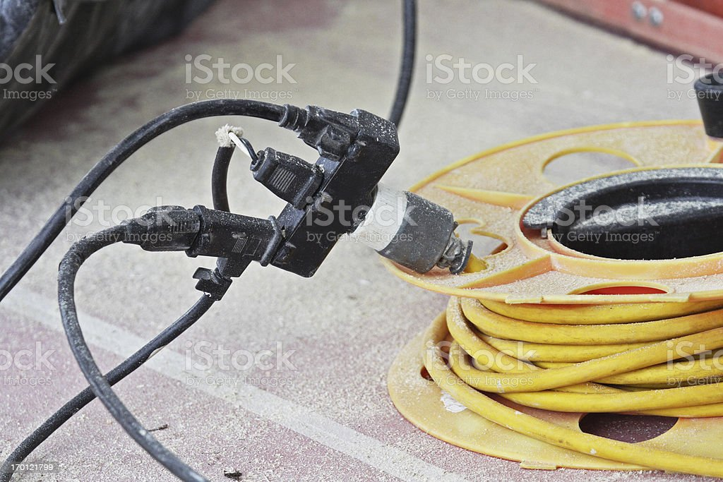 Dangerous Electric Power Extension Cords royalty-free stock photo