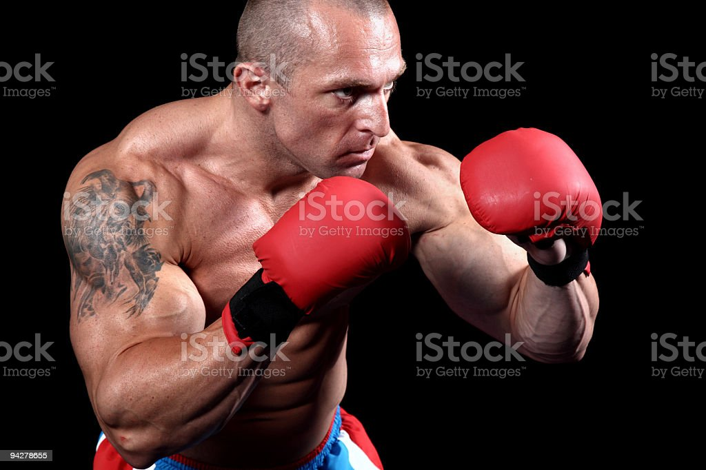 Dangerous fighter in action royalty-free stock photo