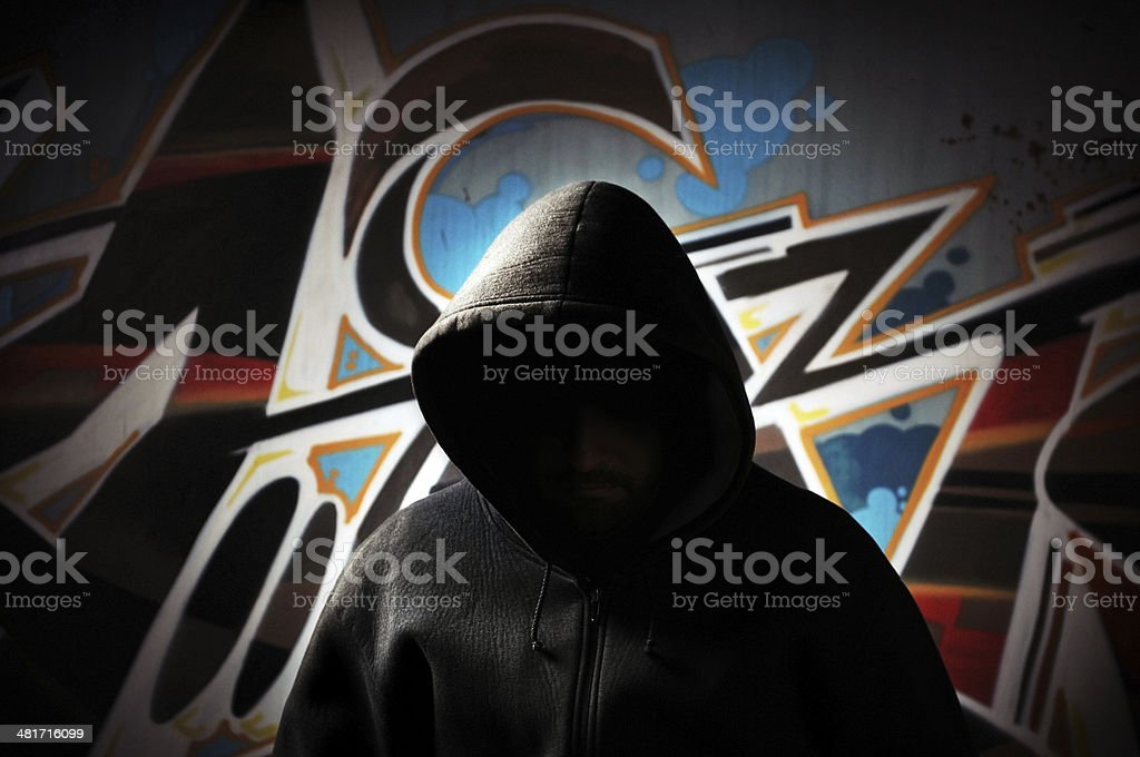 Dangerous Hooded Man stock photo