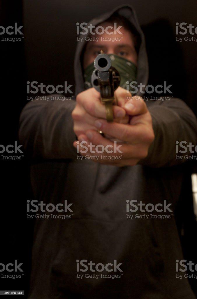 Dangerous Man Holding A Gun stock photo