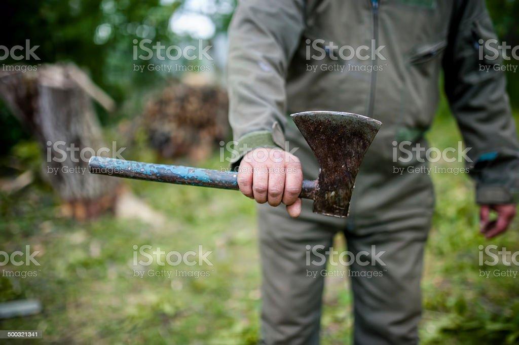 Dangerous man holding an custom made steel royalty-free stock photo