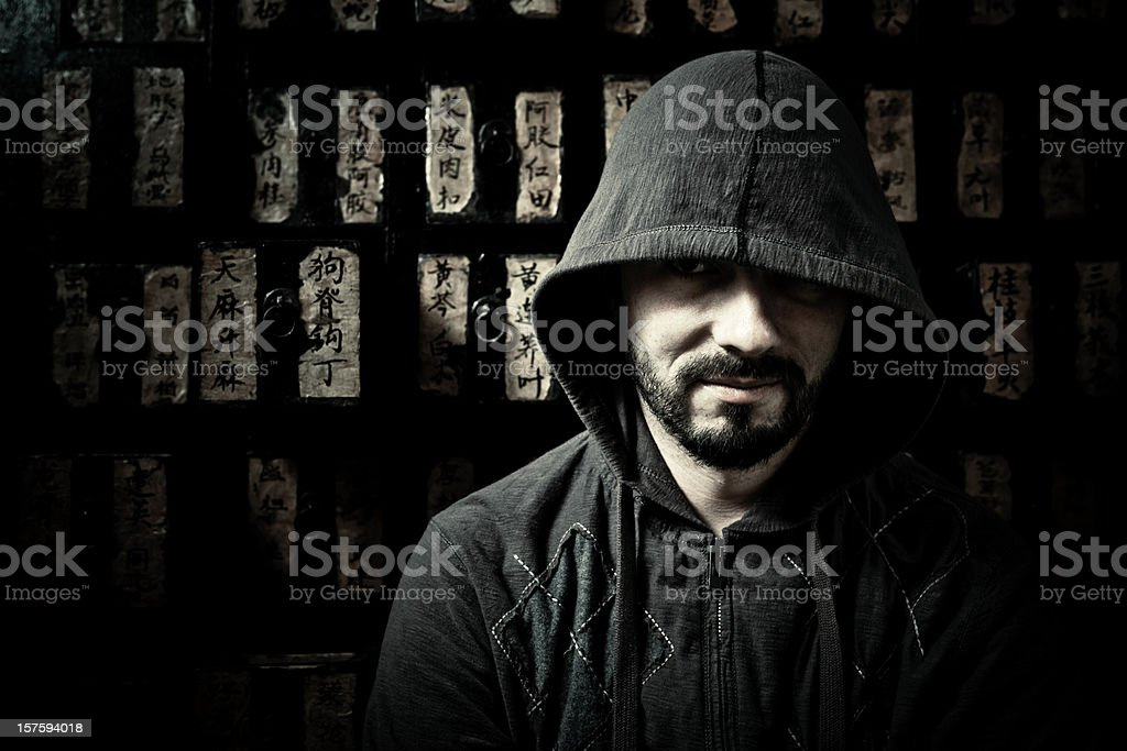 dangerous man in the dark stock photo
