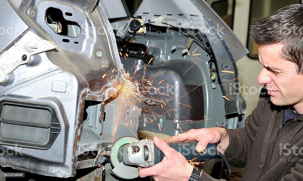 Dangerous mechanical grinding. stock photo
