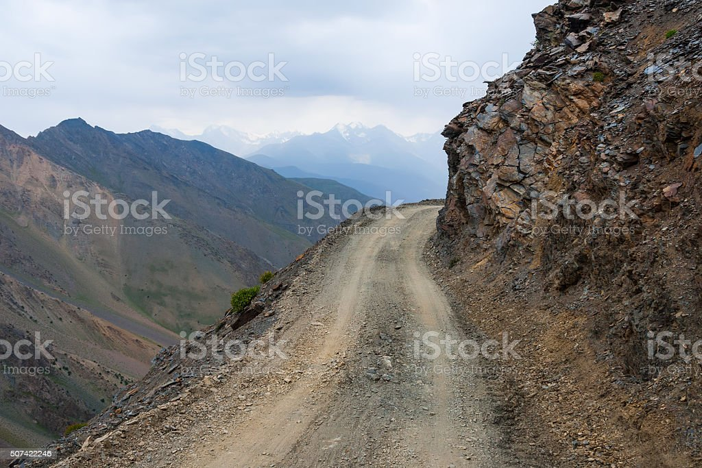 Dangerous mountain road stock photo