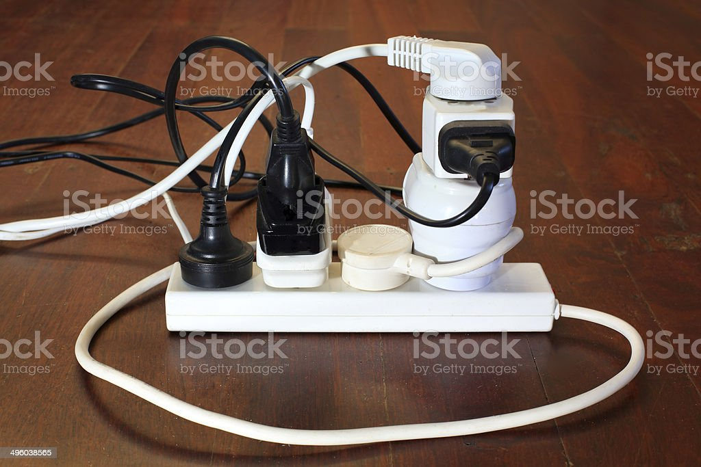 Dangerous power board stock photo