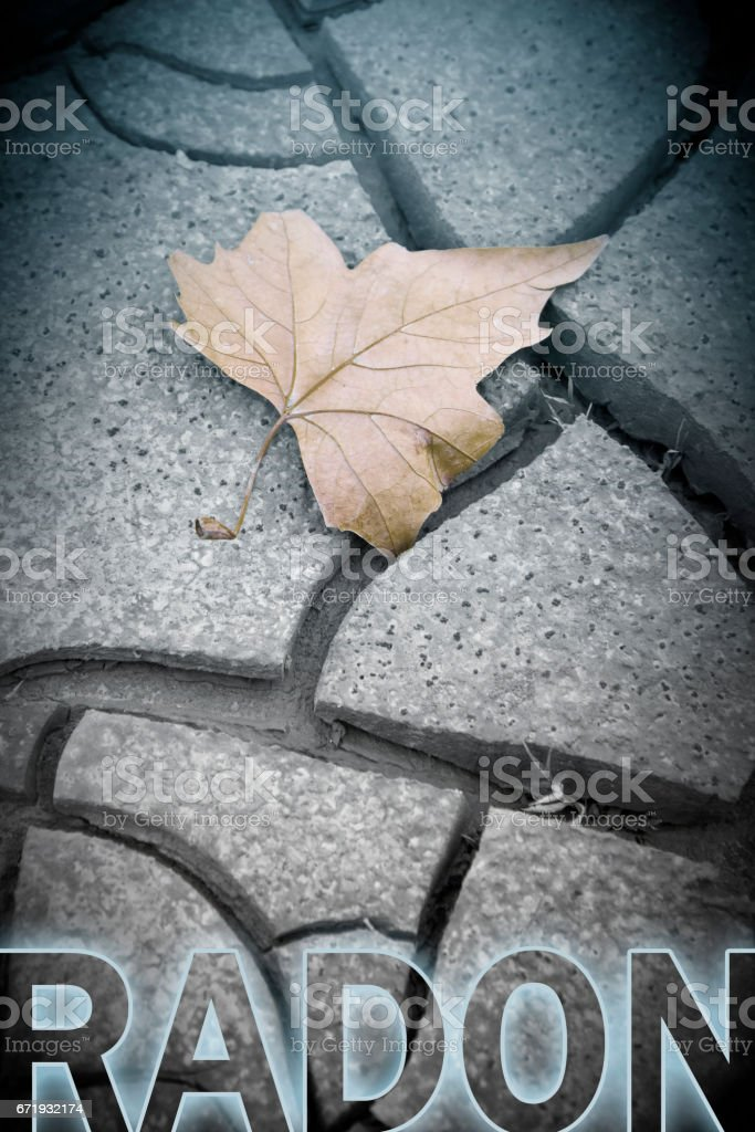 Dangerous radon concept image with isolated dry leaf on background - concept image stock photo