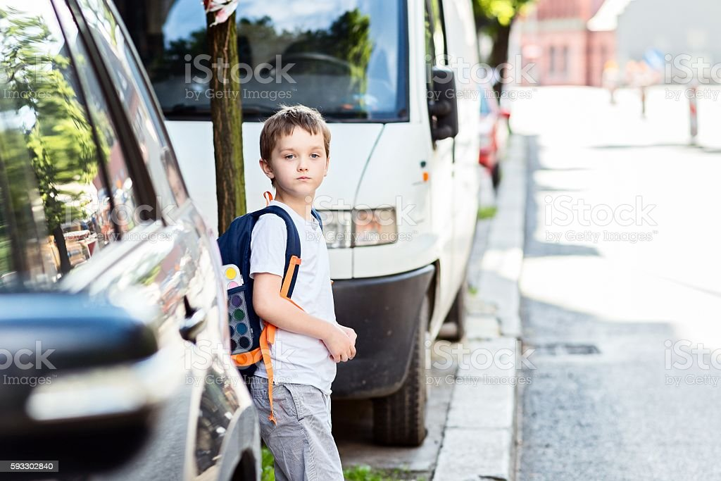 Dangerous road to school stock photo
