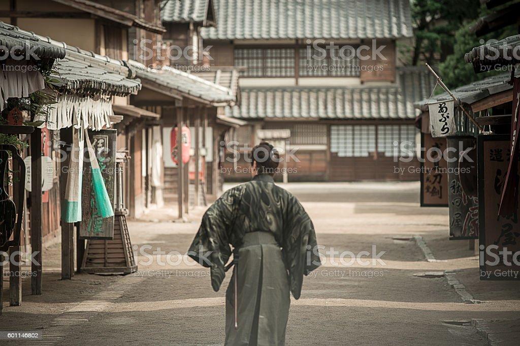 Dangerous Samurai in Japanese village stock photo