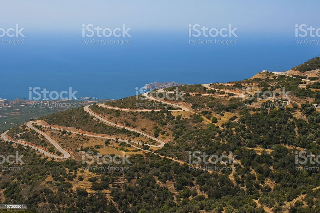 Dangerous serpentine in mountains at Crete, Greece royalty-free stock photo