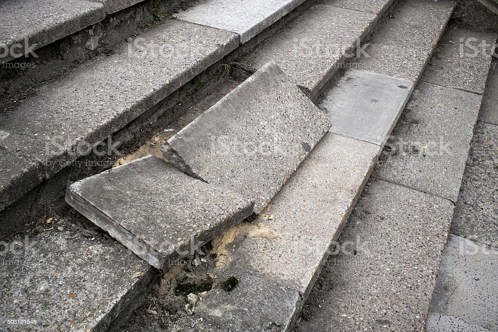Dangerous steps stock photo