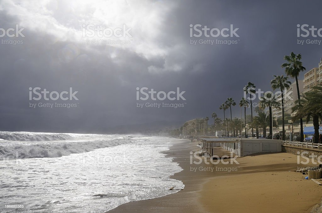 Dangerous storm in Cannes stock photo