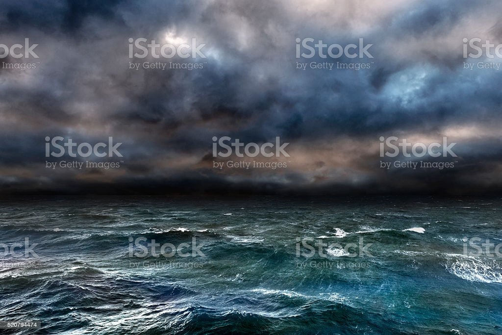 Dangerous storm over ocean stock photo