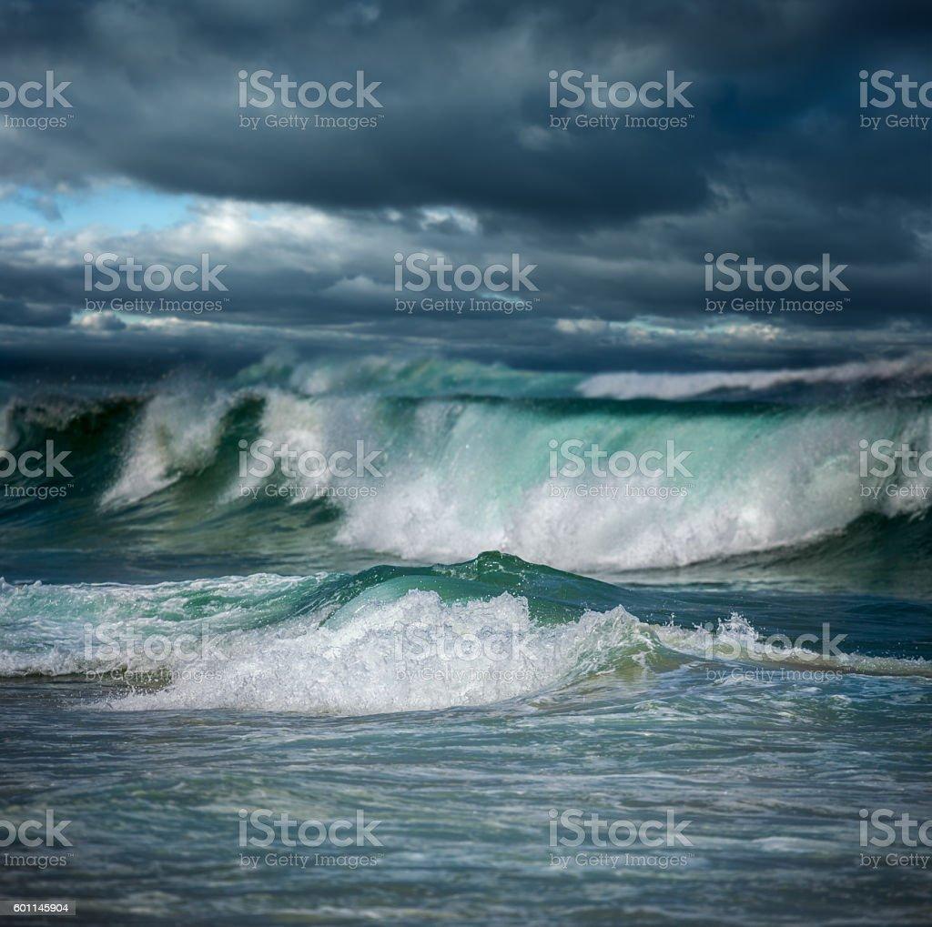 Dangerous stormy weather - big ocean waves stock photo